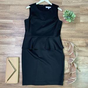Nine West Black Sleeveless Peplum Scuba Dress